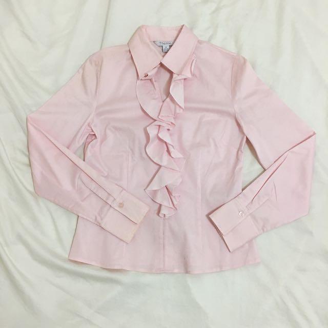 THEME粉色荷葉領質感長袖襯衫