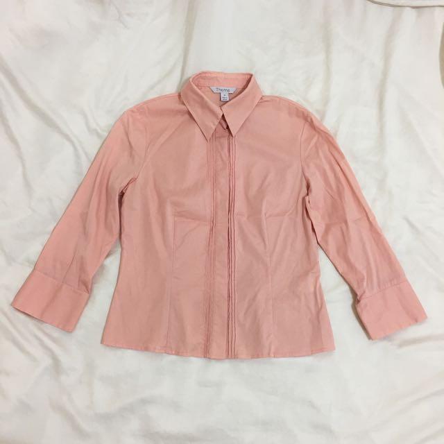 Theme粉嫩橘色好氣色蜜桃橘長袖襯衫