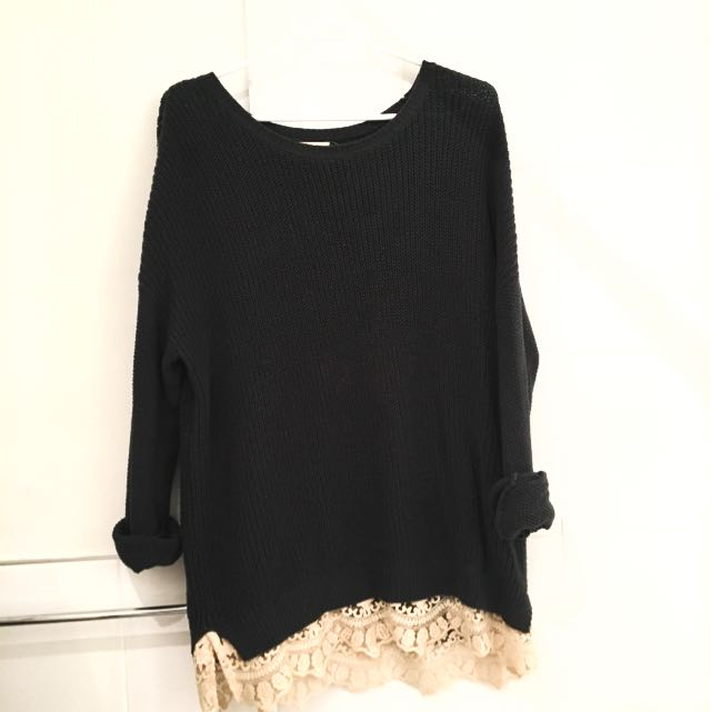 UO Oversized Knit Sweater With Lace Trim