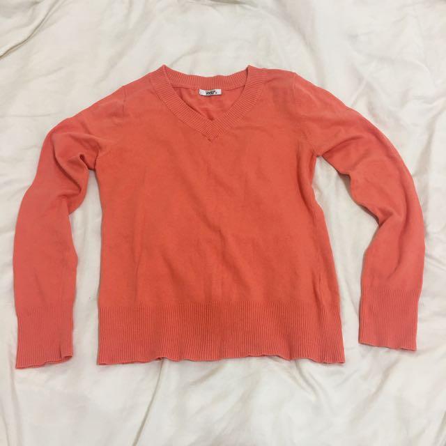 Veeko溫暖陽光蜜桃橘針織衫 毛衣 上衣