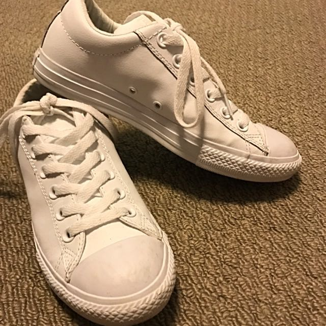 White Leather Converse All Stars