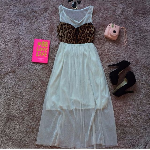 White Leopard Maxi Dress