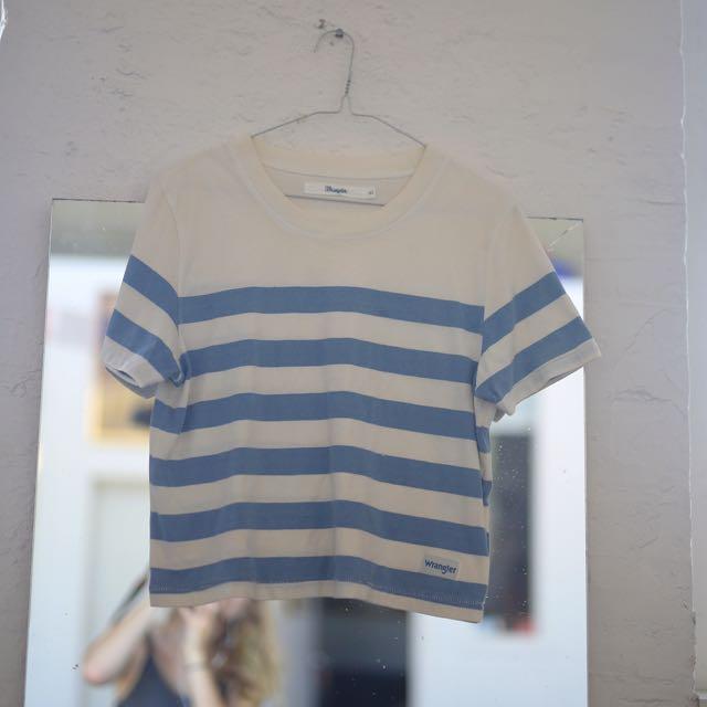 Wrangler Striped Blue White Shirt