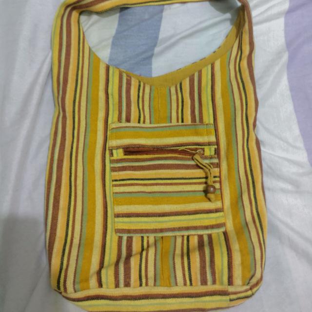 Yellow Striped Hobo Bag