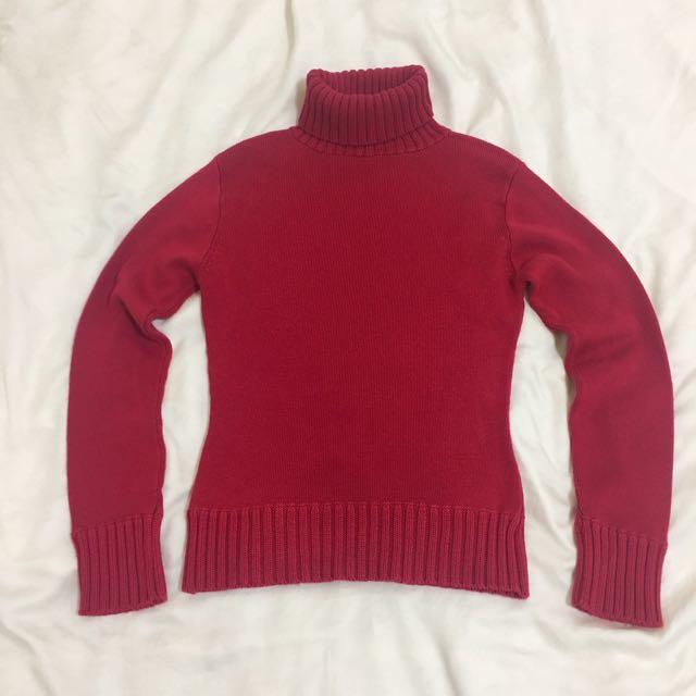 ZAHA girl酒紅色高領反折合身毛衣 針織衫