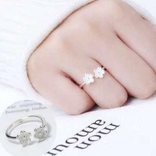 925純銀雙梅花花朵尾戒戒指~2