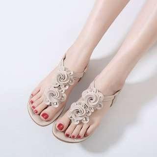 波西米亞 女夏涼鞋花朵平底夾腳簡約大碼涼鞋旅遊舒適沙灘鞋