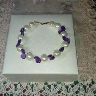 🌺🌺🌺18K金天然珍珠紫水晶手鍊