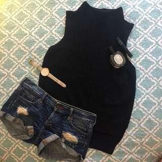 Black Knit Turtle Neck + Abercrombie & Fitch Shorts