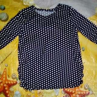 Fashion Woman 3/4 Polka Dot Top