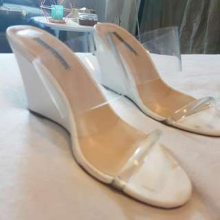 Windsor Smith White Wedge With Clear Straps
