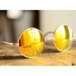 Fun mirror lens round sunglasses (yellow)
