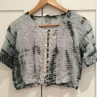 Tie - Dye Cropped Blouse