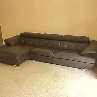 Harvey Norman Brown Leather 3 Seater Sofa