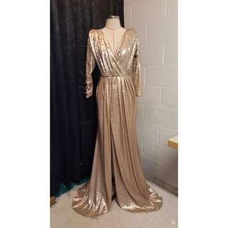 Champagne Sequin Ball/Formal Dress