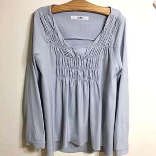 正韓 水藍色雪紡襯衫