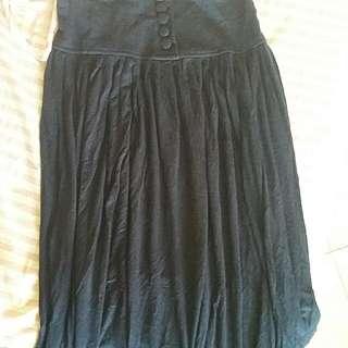 Navy Skirt - Maxi High Waist