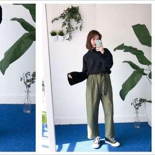 PER. 韓國帆布高腰直筒寬版褲