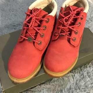 Timberland橘紅短靴