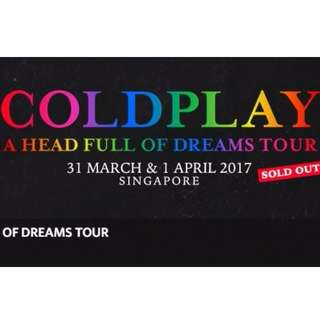 Coldplay - Mar 31, 2017 - VIP Package (Standing Pen A) - 1 Ticket