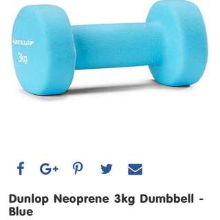 Dunlop Neoprene 3kg Dumbbell - Blue