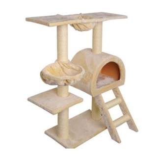Multi Level Cat Scratching Poles Tree w/ Ladder Beige