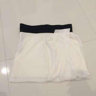 Cream Draped Short Skirt