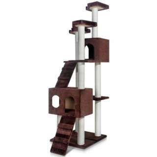Multi Level Cat Scratching Poles Tree w/ Ladder Chocolate