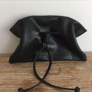 Genuine Leather Black Clutch