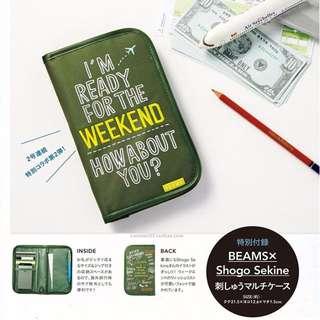日本雜誌 SPRiNG 附贈BEAMS刺繡多功能收納夾 收納包 收納袋 護照包 護照夾 小物包