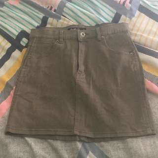 Army Green Denim Skirt