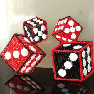 Iron On Patch/ Applique   ↪ Double Dice 🎲🎲 Black & Red  💱 $2.90 Each Piece