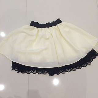 Cream Skirt With Black Lace