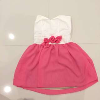 Strapless White Dress With Pink Soirt