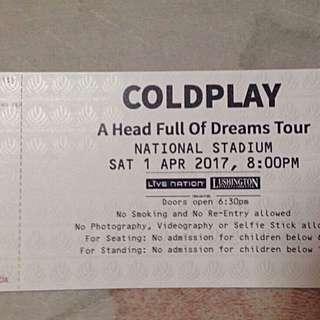COLDPLAY 01-APR Concert 2Tix $400