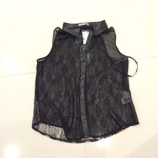 Sheer Black Button Up Top