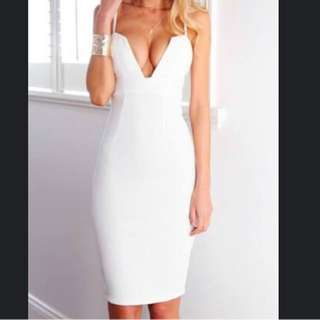 White V Neck Midi Dress