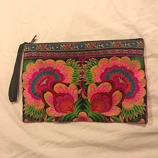 Floral Embroidered Clutch