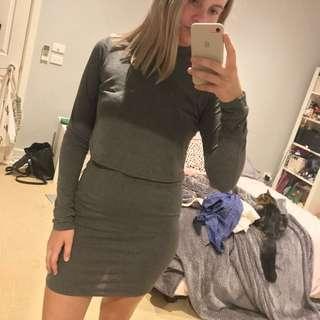 Grey Long Sleeve Layer Winter Dress