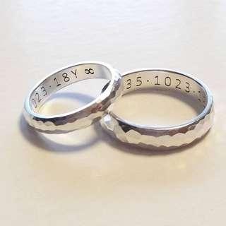 訂制純銀- 刻字格紋情侶戒指