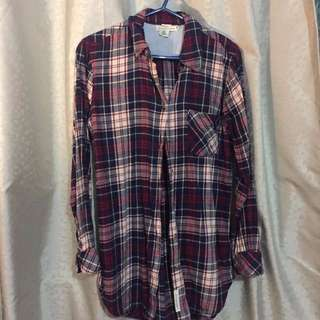 Plaid H&M Long Button Down Top
