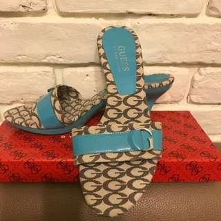 全新GUESS細跟tiffany藍logo涼鞋(36號)