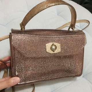 Furla Look Alike Jelly Bag In Pink Glitter