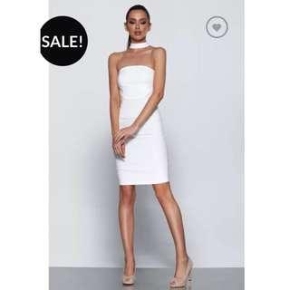 🎀 Harper And Bloom White Choker Midi Bodycon Dress Size 6 XS