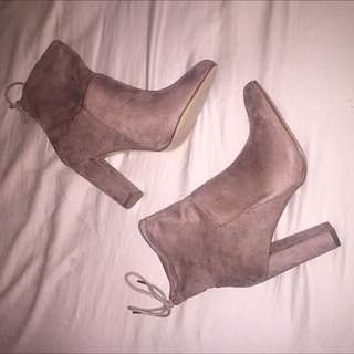 Dusty Pink Suede Booties