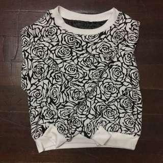 Black&white Rose Crop Top