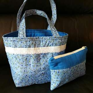 Quilted Floral Lunch Bag