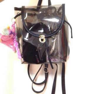 Black Transparent Small Backpack