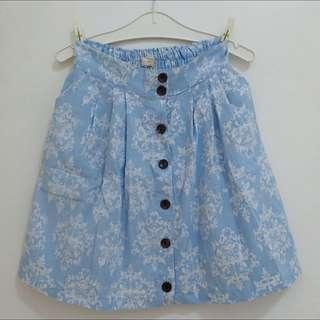 Blue Button Skirt