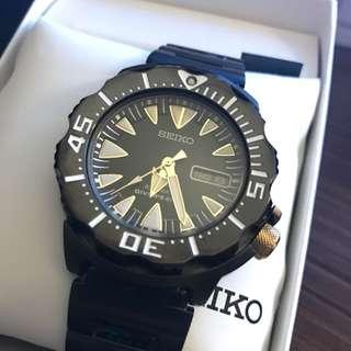 Seiko 機械錶 黑鮪魚 罐頭 九成新 IP電鍍黑 精工表